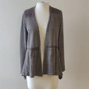 Knox Rose | Gray Peplum Cardigan Crochet Detail